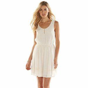 Lauren Conrad Light Summer Dress Cream Blush L NWT